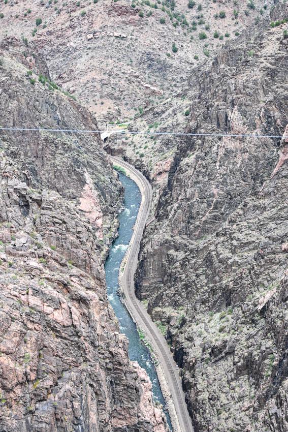 Royal Gorge Bridge in Colorado below