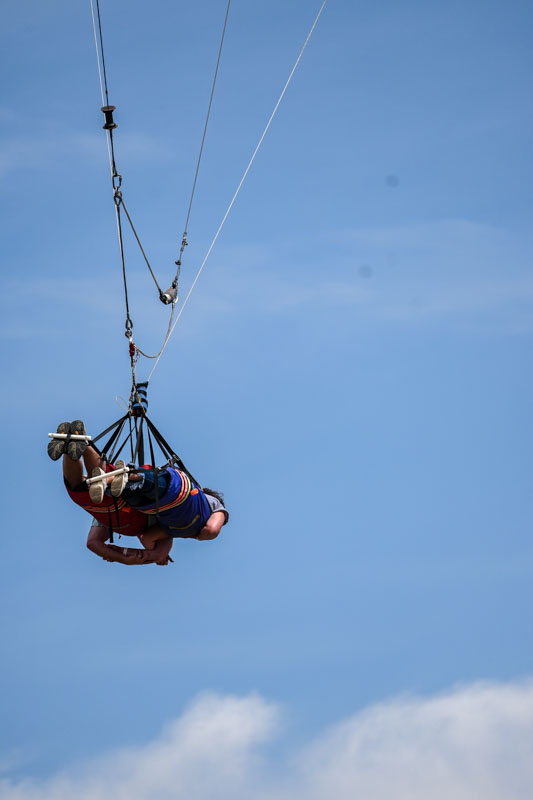 sky coaster with people on it