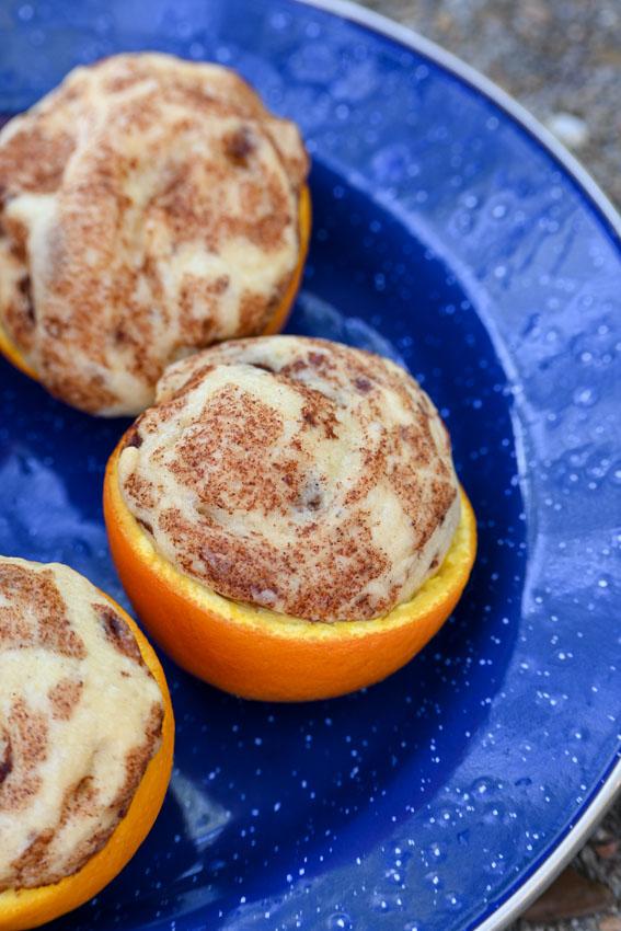 campfire orange cinnamon rolls close up