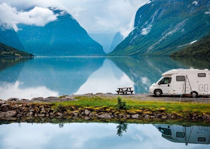 Rv by Mountain Lake