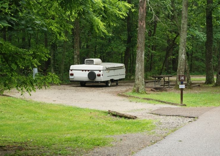 pop up camper at campsite