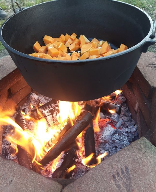 Carrots in the bottom on campfire