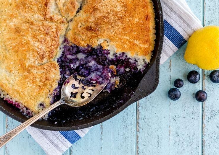 cast iron skillet blueberry cobbler eaten
