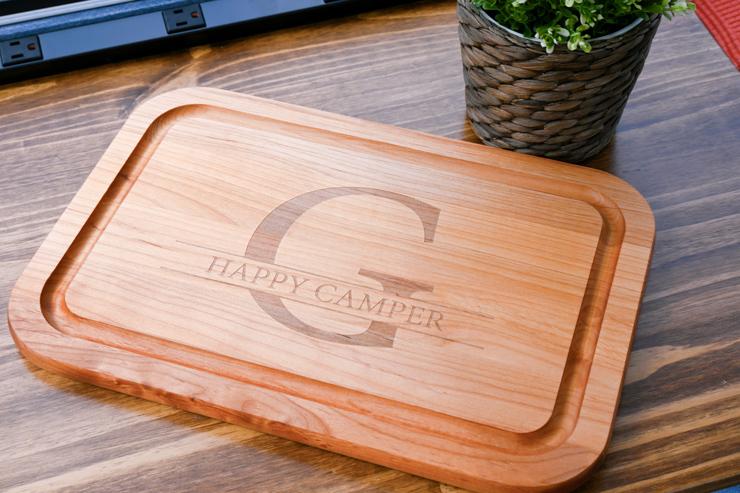 Happy Camper cutting board from Lillian Vernon
