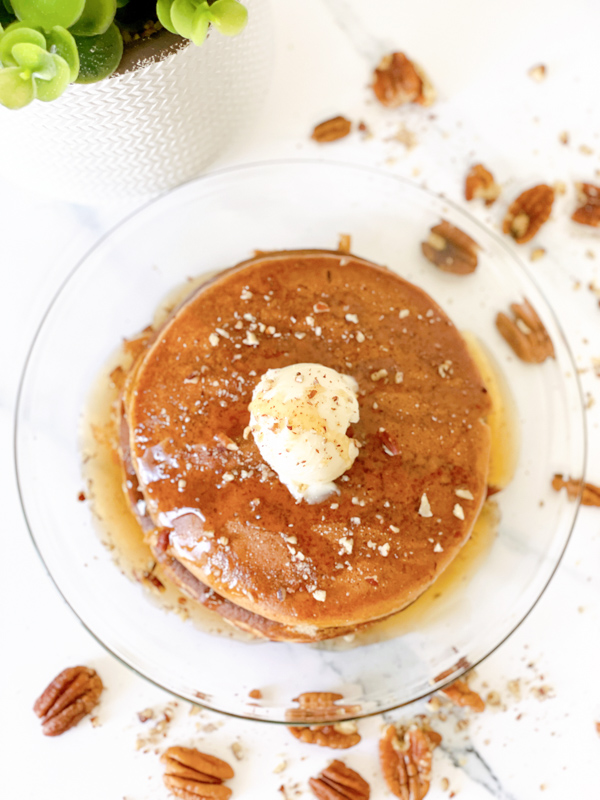Muffin Mix Pancakes - plated from top