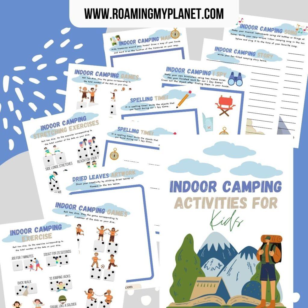 Indoor Camping Activities for Kids Blog Mock-up- www.RoamingMyPlanet.com