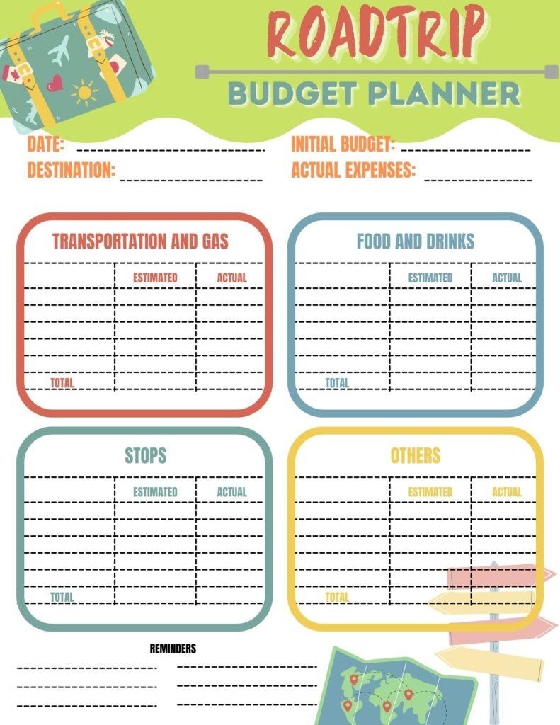 road trip planner budget