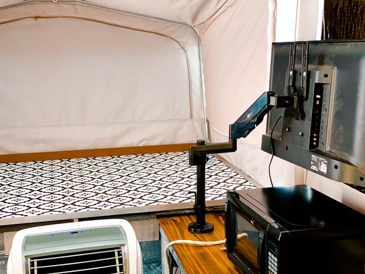 pop up camper tv back