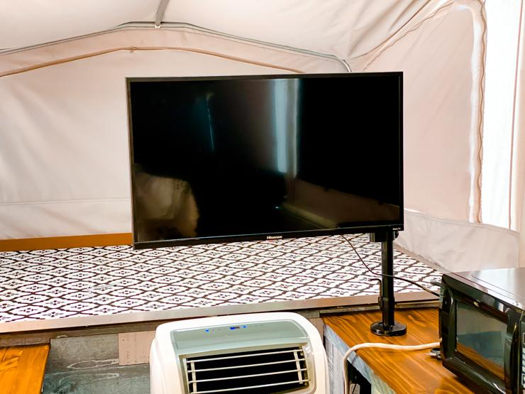 pop up camper tv front
