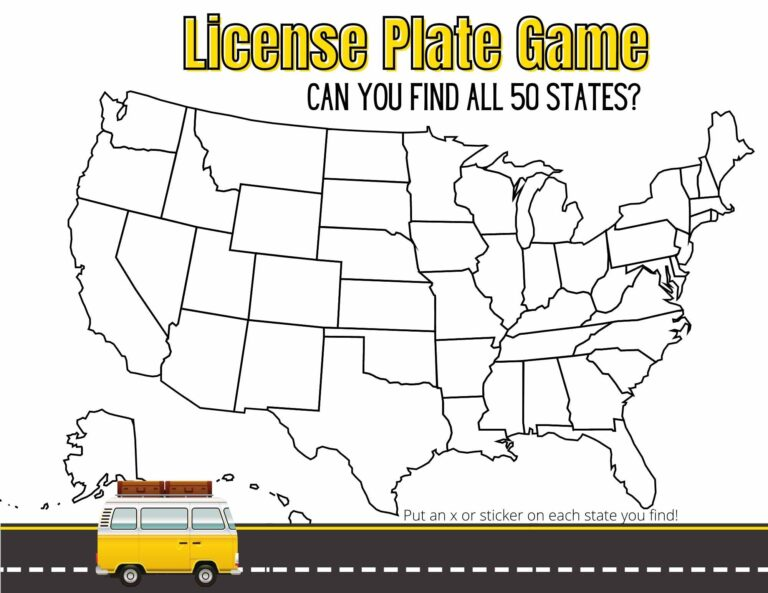 Free Printable License Plate Game for Kids